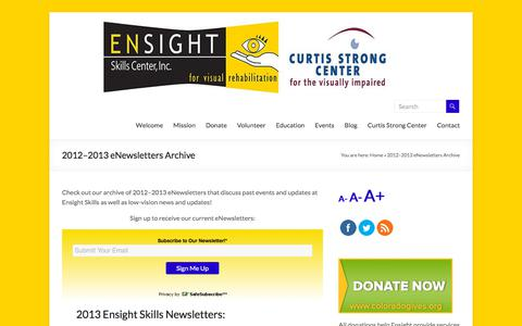 Screenshot of Press Page ensightskills.org - 2012–2013 eNewsletters Archive | Ensight Skills Center - captured Sept. 25, 2018