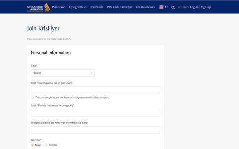 Screenshot of Signup Page singaporeair.com - Registration form - captured June 20, 2017