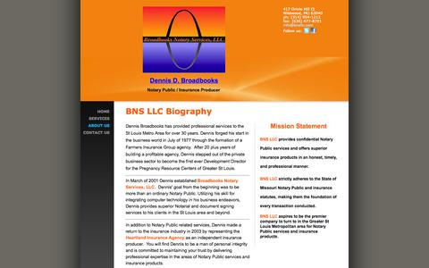 Screenshot of About Page bnsllc.com - Broadbooks Notary Services, LLC - BNS LLC Biography - captured Oct. 5, 2014