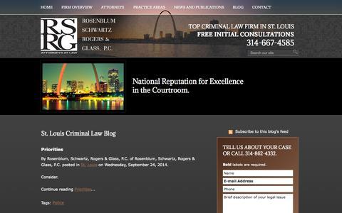 Screenshot of Blog rsrglaw.com - St. Louis Criminal Law Attorney Blog | Missouri Criminal Defense Lawyers | Saint Louis County White Collar Crimes Law Firm - captured Oct. 6, 2014