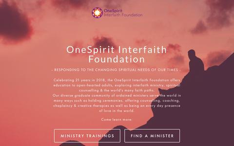 Screenshot of Home Page interfaithfoundation.org - OneSpirit Interfaith Foundation - captured Oct. 22, 2018