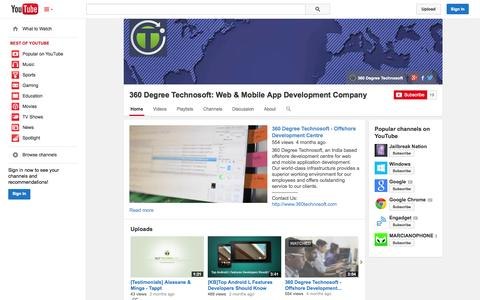 Screenshot of YouTube Page youtube.com - 360 Degree Technosoft: Web & Mobile App Development Company  - YouTube - captured Oct. 24, 2014