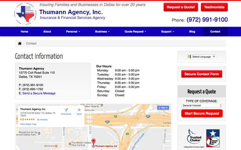 Contact Information | Thumann Insurance Agency, Dallas TX