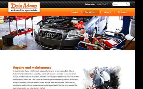 Screenshot of Services Page daleadams.com - Maintenance and repairs - Dale Adams Automotive - captured Nov. 23, 2016