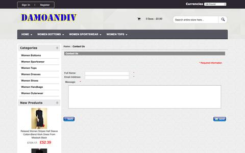 Screenshot of Contact Page damoandivor.com - Contact Us : Women Bottoms,Hot sale Online,Women Dresses,Women Shoes | discount as low as 45% - captured Oct. 25, 2018