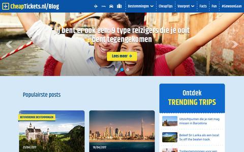 Screenshot of Blog cheaptickets.nl - Alles over vliegtickets, bestemmingen en meer! - CheapTickets.nl Blog - captured June 21, 2017