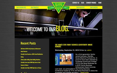 Screenshot of Blog standbyscrew.com - Manufacturing Articles | Machining Blog | Standby Screw Blog - captured Sept. 30, 2016