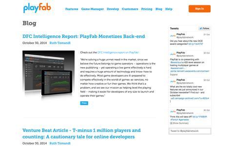 Screenshot of Blog playfab.com - Blog | PlayFab - captured Nov. 2, 2014