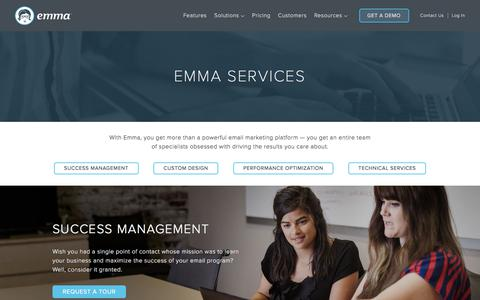 Screenshot of Services Page myemma.com - Email Marketing Services | Emma Email Marketing - captured Sept. 22, 2017