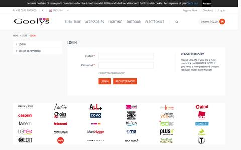 Screenshot of Login Page goolys.com - Goolys , Arredamento, Complementi, Illuminazione, Outdoor, Elettronica | Goolys - captured July 6, 2016