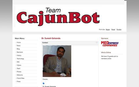 Screenshot of Contact Page cajunbot.com - CajunBot.com - Contact Us - captured Oct. 1, 2014