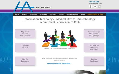 Screenshot of Home Page hessjobs.com - IT | Medical Device | Biotechnology Recruitment - Hess Associates - captured Sept. 28, 2018