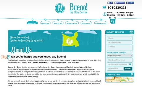 Screenshot of About Page buenoindia.com - About Bueno dry clean and laundry services shop in Mumbai - captured Feb. 12, 2016