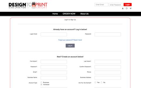 Screenshot of Signup Page designtoprint.com - DesignToPrint - captured June 4, 2017