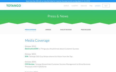 Screenshot of Press Page totango.com - Press & News | Totango | Customer Success Software - captured Nov. 25, 2015
