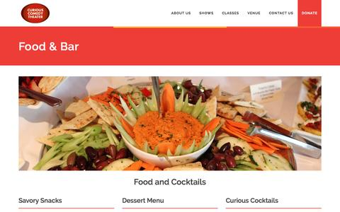 Screenshot of Menu Page curiouscomedy.org - Curious Comedy Theater - Food & Drink Menu - captured Sept. 6, 2016