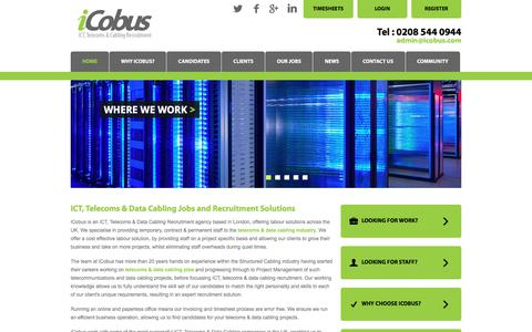 Screenshot of Home Page icobus.com - iCobus: Telecommunications & Data Cabling Recruitment Agency - captured Oct. 15, 2017