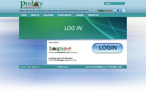 Screenshot of Login Page probitymt.com - Probity - Clinical Documentation - captured Sept. 17, 2014