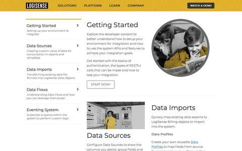 Screenshot of Developers Page logisense.com - Developer - captured Jan. 15, 2020