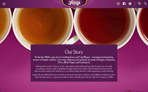 Screenshot of About Page yogiproducts.com - Our Story - captured Sept. 12, 2018