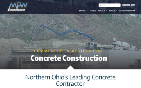 Screenshot of Home Page mpwcs.com - Residential & Commercial Concrete | MPW Construction - captured Oct. 1, 2018