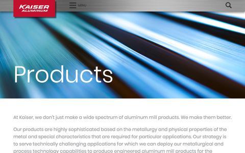 Screenshot of Products Page kaiseraluminum.com - Products – Kaiser Aluminum - captured April 21, 2018