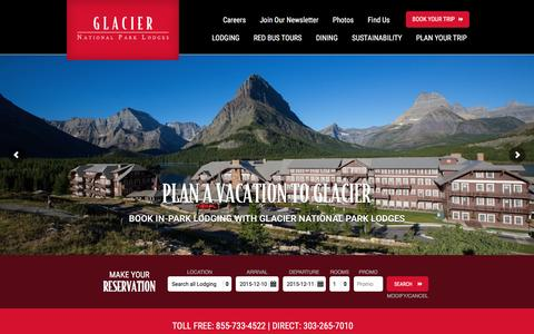 Screenshot of Home Page glaciernationalparklodges.com - Glacier National Park Lodges: Lodging & Accommodations - captured Dec. 9, 2015