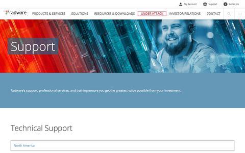 Screenshot of Support Page radware.com - Radware: Support - captured Jan. 16, 2018