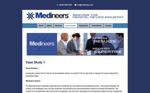 Screenshot of Case Studies Page medineers.com - Case Studies - Medineers - Servicing the Medical Device Industry - captured Oct. 18, 2017