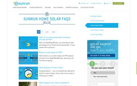 Screenshot of FAQ Page sunrun.com - Solar FAQ's   Go Solar Center   Sunrun - captured June 14, 2017