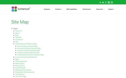 Screenshot of Site Map Page lumencor.com - Site Map - Lumencor - captured Sept. 29, 2018