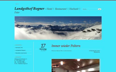 Screenshot of Blog wordpress.com - Landgsthof Bogner | Hotel | Restaurant | Hochzeit | Feier - captured June 8, 2016