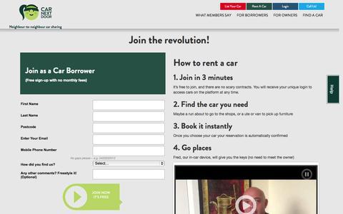 Screenshot of Signup Page carnextdoor.com.au - Join the revolution! | Car Next Door - captured Sept. 18, 2014