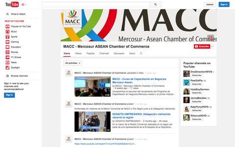 Screenshot of YouTube Page youtube.com - MACC - Mercosur ASEAN Chamber of Commerce  - YouTube - captured Nov. 2, 2014