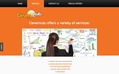Screenshot of Services Page clevernuts.com - Services | Clevernuts - captured Sept. 29, 2014