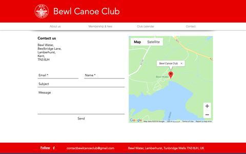 Screenshot of Contact Page bewlcanoeclub.co.uk - Contact | Bewl Canoe Club - captured Dec. 9, 2018
