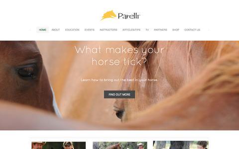 Screenshot of Home Page parelli.com - Parelli Natural Horsemanship - Horse Training - Parelli Natural Horsemanship - Horse Training - captured Sept. 19, 2014