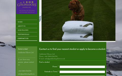 Screenshot of Contact Page goldilockspillows.co.uk - Goldilocks Pillows Ltd - Contact Us - captured Sept. 29, 2018