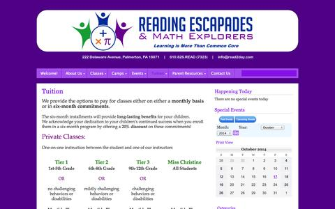 Screenshot of Pricing Page read2day.com - Tuition   Reading Escapades & Math Explorers - captured Oct. 26, 2014