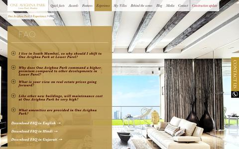 Screenshot of FAQ Page oneavighnapark.com - FAQs about our Upcoming Residential Project In Mumbai - One Avighna Park - captured Sept. 30, 2014