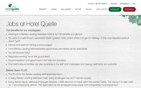 Screenshot of Jobs Page hotel-quelle.com - Jobs - Hotel in South Tyrol - Puster Valley - Hotel Quelle Nature Spa Resort - captured March 30, 2017