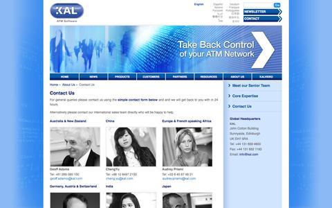Screenshot of Contact Page kal.com - Contact KAL   KAL.com   KAL ATM Software - captured Sept. 16, 2014
