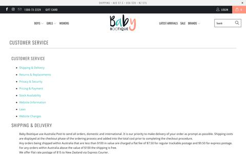 Screenshot of Support Page babybootique.com.au - Customer Service - Baby Bootique - captured May 31, 2017