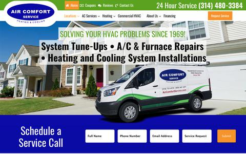 Screenshot of Home Page aircomfortservice.com - St Louis Heating and Cooling Services - AC and Heating Installation - captured Sept. 29, 2018