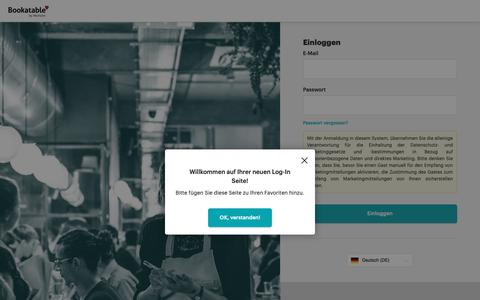 Screenshot of Login Page bookatable.com - Bookatable Light - Einloggen - captured Oct. 22, 2018