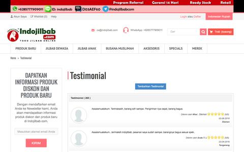Screenshot of Testimonials Page indojilbab.com - Testimonial - captured Aug. 5, 2016