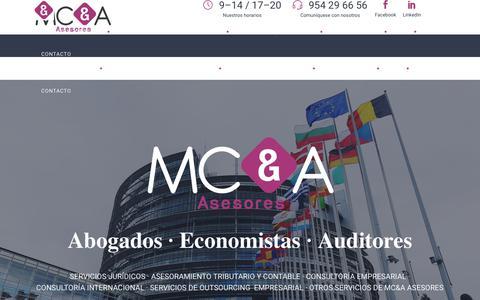 Screenshot of Home Page mcaasesores.com - MCA Asesores - Servicios jurídicos y consultoría | Sevilla | Málaga - captured Oct. 1, 2018