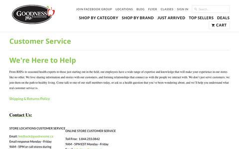 Screenshot of Support Page goodnessme.ca - Customer Service - Goodness Me! - captured Sept. 4, 2017