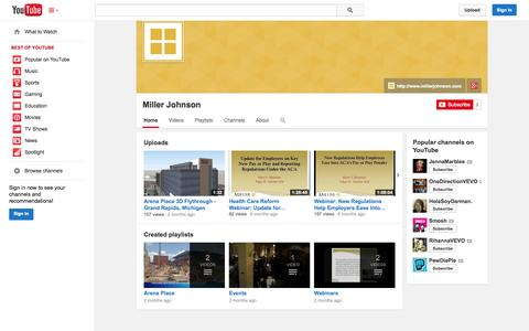 Screenshot of YouTube Page youtube.com - Miller Johnson  - YouTube - captured Oct. 26, 2014
