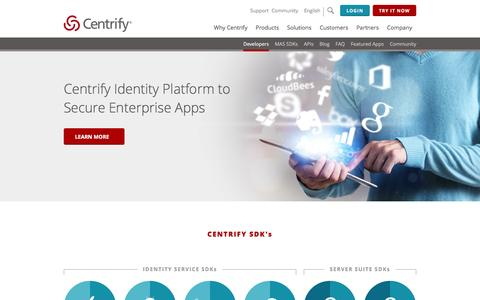 Screenshot of Developers Page centrify.com - Centrify Identity Platform to Secure Your Enterprise Apps - captured Jan. 6, 2016